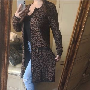 Animal print cardigan duster sweater fall top m